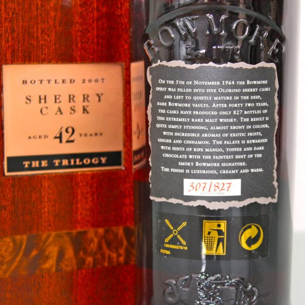 Black Bowmore 1964 42 Years Old back label