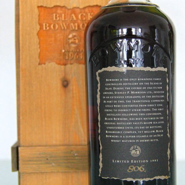 Black Bowmore 1964 29 Years Old 1st Edition back label