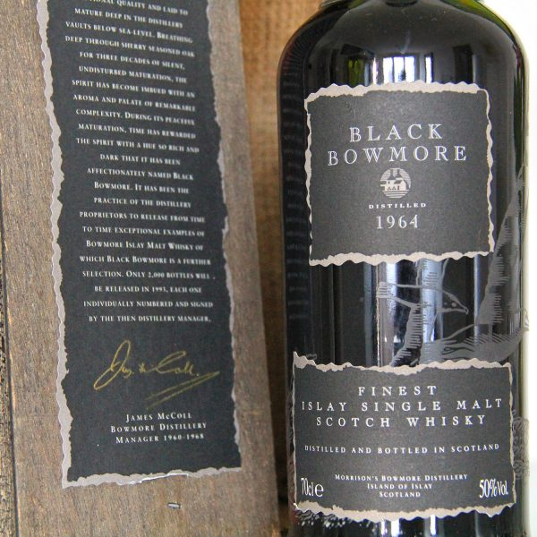Black Bowmore 1964 29 Years Old 1st Edition label