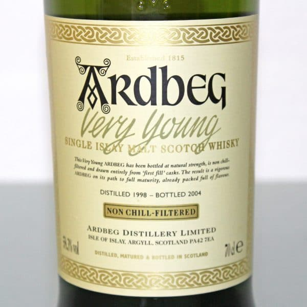 Ardbeg Very Young label
