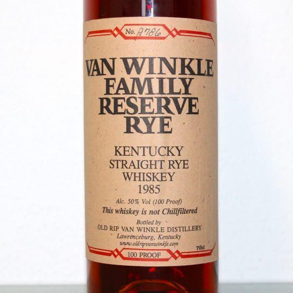 Van Winkle Family Reserve Rye 1985 label