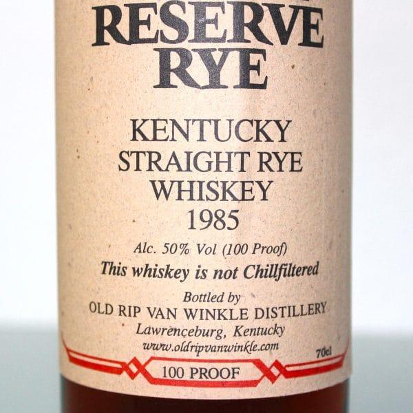Van Winkle Family Reserve Rye 1985 label 2
