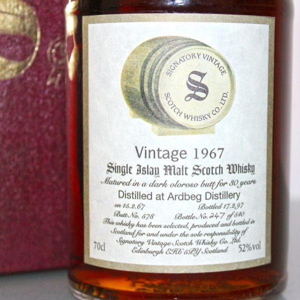 Ardbeg 1967 30 Years Old Signatory Vintage label