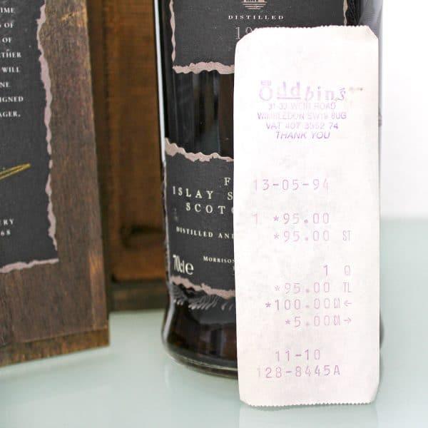 Black Bowmore 1964 29 Year Old 1st Edition wax seal bill