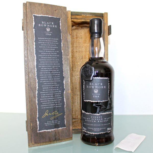 Black Bowmore 1964 29 Year Old 1st Edition wax seal box back