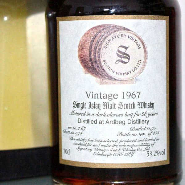 Ardbeg 1967 28 Years Old Signatory Vintage Label